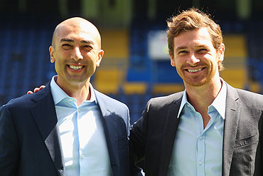 Chelsea's newly appointed first team assistant coach Roberto Di Matteo with manager Andre Villas-Boas