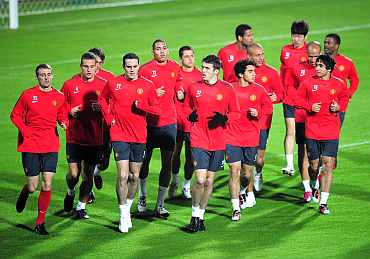 Manchester United team train at Old Traddord