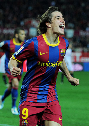 Barcelona's Bojan Krkic celebrates after scoring against Sevilla on Sunday