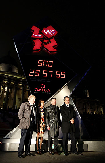 Team Great Britain's Athlete Jess Ennis, LOCOG Chairman Lord Sebastian Coe, Mayor of London Boris Johnson and President of Omega Stephen Urquhart reveal the official Omega London 2012 Countdown Clock in London on Monday