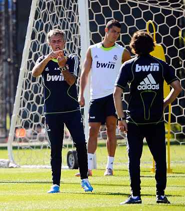 Jose Mourinho during a training session with the Real Madrid team