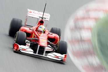 Felipe Massa drives his Ferrari during a practice session