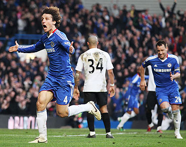 David Luiz of Chelsea celebrates after scoring against Manchester City at Stamford Bridge on Sunday