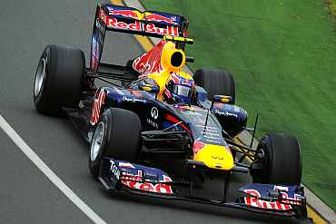 Mark Webber drives during a practice session in Melbourne