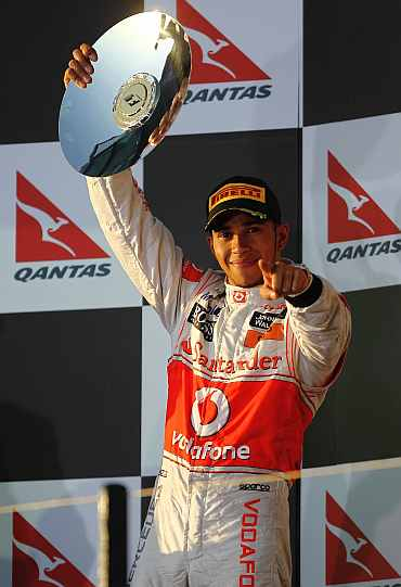Lewis Hamilton celebrates after the Australian Grand Prix