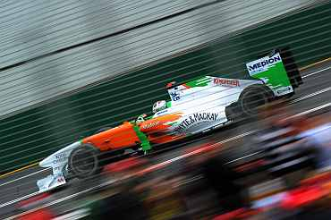 Force India's Adrian Sutil during the Formula One race