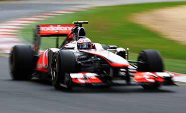 McLaren's Lewis Hamilton during a pratice session at the Albert Park Circuit on Staurday