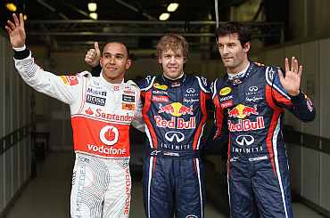 McLaren's Lewis Hamilton, Redbull's Sebastian Vettel and Mark Webber after the pratice session at the Albert Park Circuit