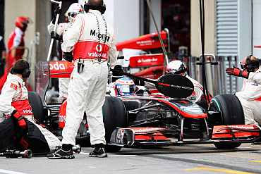 McLaren car at the pitstop