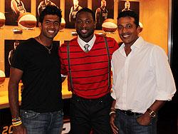 NBA star Dwayne Wade is flanked by Rohan Bopanna and Mahesh Bhupathi