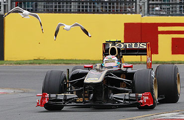 Lotus F1 Formula One driver Heikki Kovalainen of Finland in action