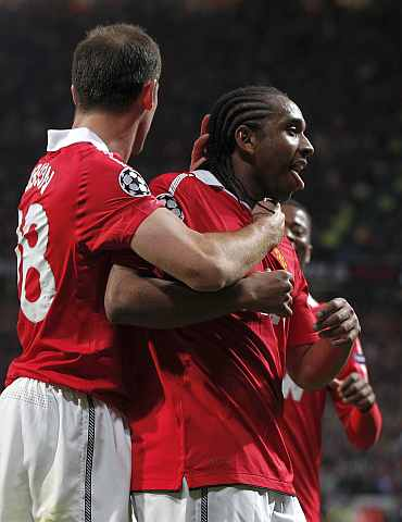 Man United's Anderson celebrates after scoring against Schalke in second leg of Champions League semis at the Old Trafford
