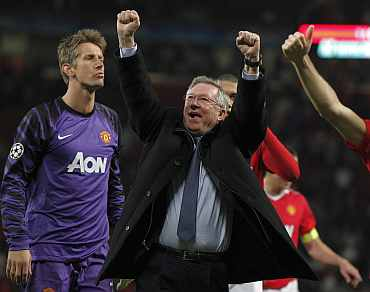 Man United's Alex Ferguson celebrates after winning the Champions League semis with Schalke