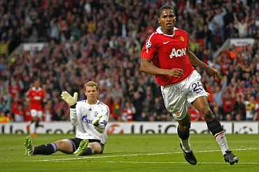Antonio Valencia celebrates after scoring against Schalke