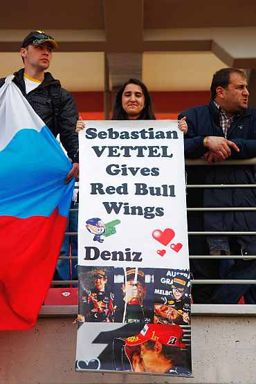 Sebastian Vettel fans are seen in the grandstand before the Turkish Formula One Grand Prix
