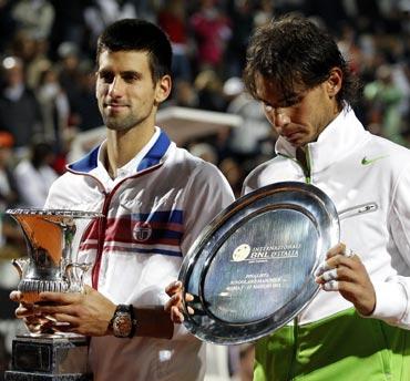 Novak Djokovic (left) with Rafael Nadal