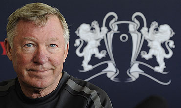 Manchester United's coach Alex Ferguson