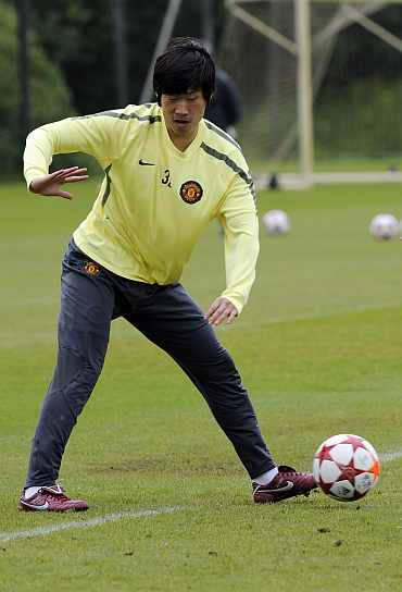 Park Ji-sung during a practice session