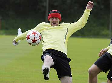 Wayne Rooney during a practice session