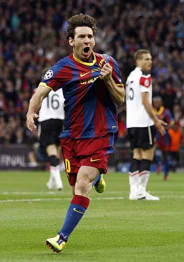 Barcelona's Lionel Messi celebrates after scoring against Manchester United in the Champions League final at Wembley