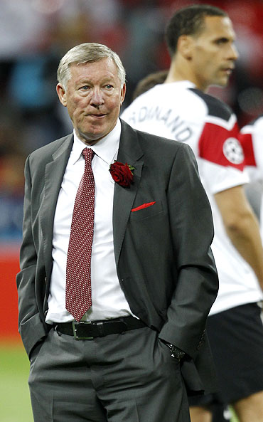 Manchester United's coach Alex Ferguson looks on after the Champions League final