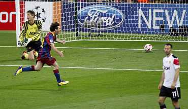 Barcelona's Messi celebrates after scoring against Manchester United in the Champions League final