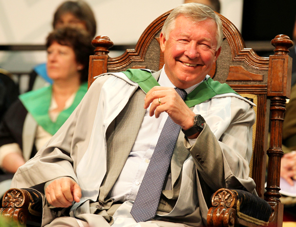Manchester United manager Sir Alex Ferguson is rewarded with an honorary doctorate during the graduation ceremony at the University of Stirling