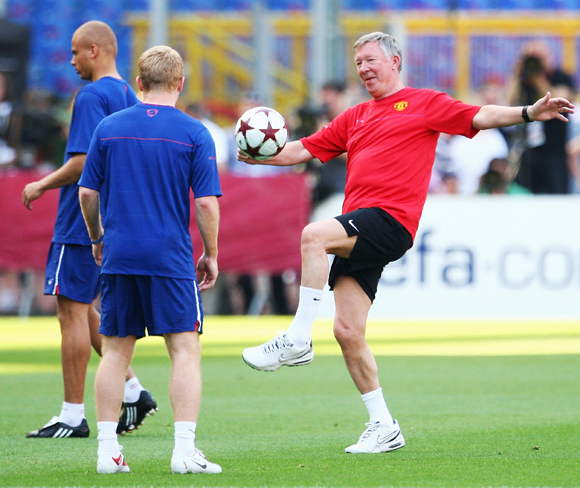 Sir Alex Ferguson manager of Manchester United in action as he attends the Manchester United training session prior to UEFA Champions League Final versus Barcelona