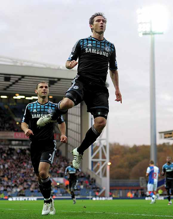 Chelsea's Frank Lampard celebrates after scoring against Blackburn Rovers