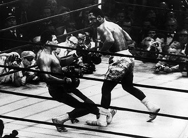 Muhammad Ali goes down in the 15th round to a left hook from world heavyweight champion Joe Frazier