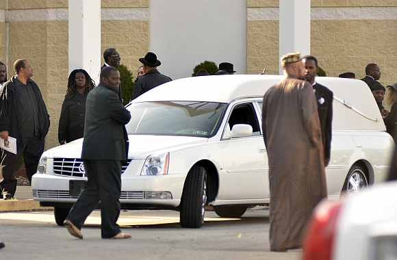 The hearse of boxer Joe Frazier sits at the Enon Tabernacle Baptist church during his funeral in Philadelphia