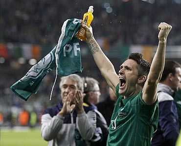 Ireland's Robbie Keane celebrates after qualifying against Estonia in their Euro 2012 playoff match on Tuesday