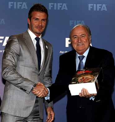 David Beckham and Sepp Blatter
