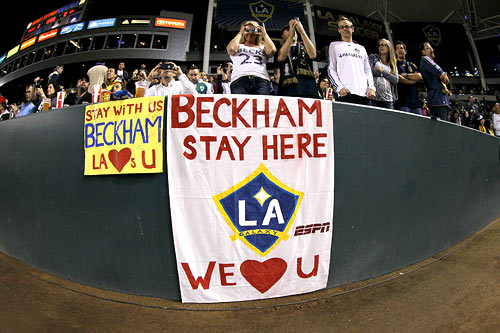 Fans show their support for David Beckham