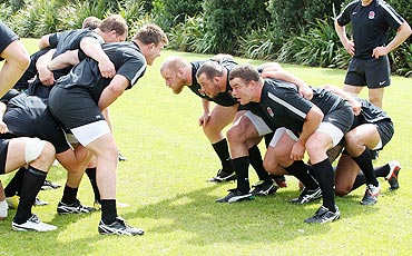 England players pack down during rugby World Cup training