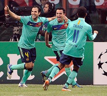 Xavi celebrates