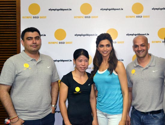 (Left to right): Gagan Narang, MC Mary Kom, OGQ director Deepika Padukone and Viren Rasquinha