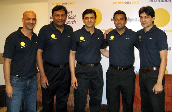 (Left to right): Viren Rasquinha, Niraj Bajaj, Prakash Padukone, Leander Paes and Geet Sethi