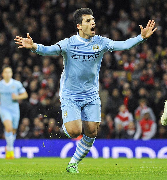 Manchester City's Sergio Aguero celebrates after scoring against Arsenal on Tuesday