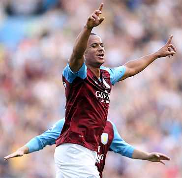 Aston Villa's Gabriel Agbonlahor celebrates after scoring against Wigan Athletic