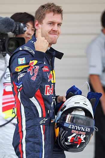 Sebastian Vettel makes his point 15 times over