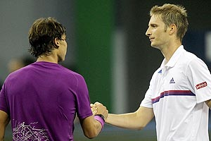 Rafael Nadal (left) with Florian Mayer