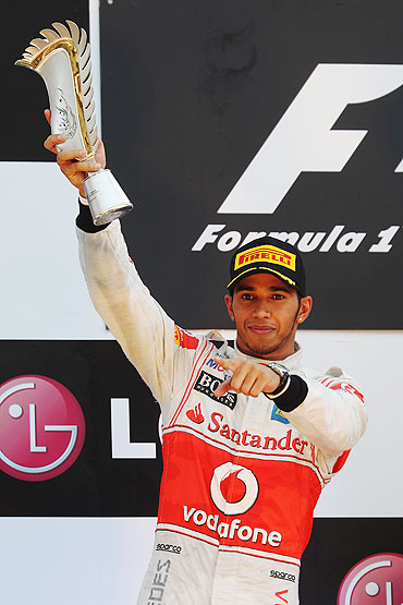 Lewis Hamilton celebrates