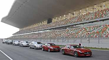 Cars are lined at the Buddh International Circuit, the venue for the first ever Indian Formula One race at Greater Noida
