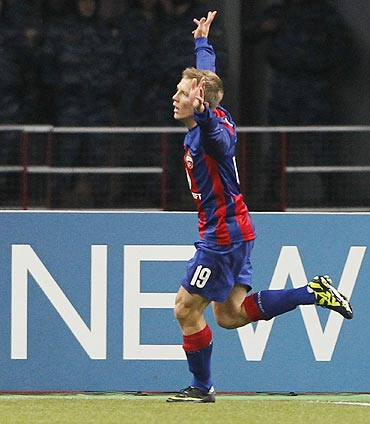 CSKA Moscow's Aleksandrs Cauna celebrates scoring against Trabzonspor