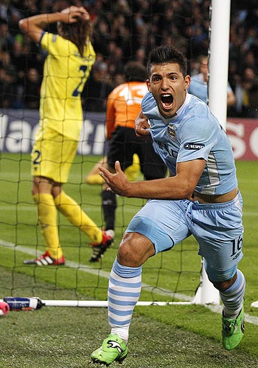 Manchester City's Sergio Aguero celebrates after scoring against Villarreal