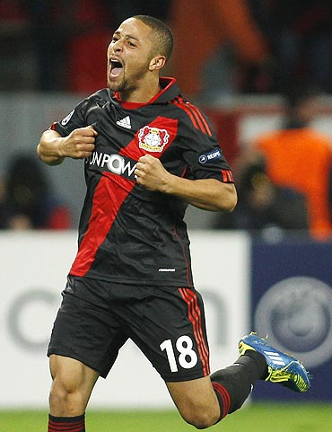 Bayer Leverkusen's Sidney Sam celebrates his goal against Valencia