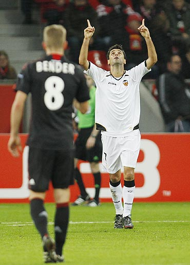 FC Valencia's Jonas celebrates his goal against Bayer Leverkusen