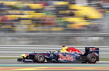 Red Bull's Sebastian Vettel in action