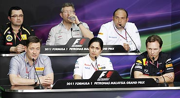 Top row left to right: Renault Formula One principal Eric Boullier, Mercedes Formula One principal Ross Brawn, HRT Formula One principal Colin Kolles (bottom row left to right): Pirelli's motorsport director Paul Hembery, Sauber Chief Executive Monisha Kaltenborn and Red Bull principal Christain Horner